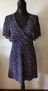 Madewell Floral Crossover Flutter Sleeve Dress